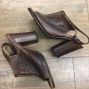 Frye slingback open toe leather heels 10
